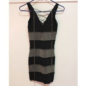 Forever21 Small Bodycon Black Lace Up Dress